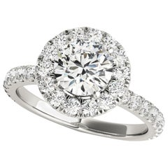 Diamonds Halo Style Accented GIA Certified Round Brilliant Cut Engagement Ring