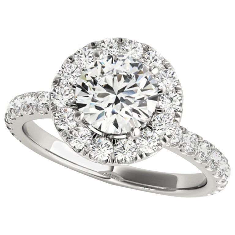 Diamonds Halo Style Accented GIA Certified Round Brilliant Cut Engagement Ring For Sale