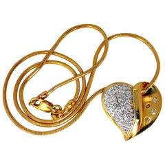 Diamonds Heart Necklace .60 Carat Snake Link Chain 14 Karat