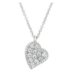 Heart Diamonds Pendant Necklace in 18K White Gold