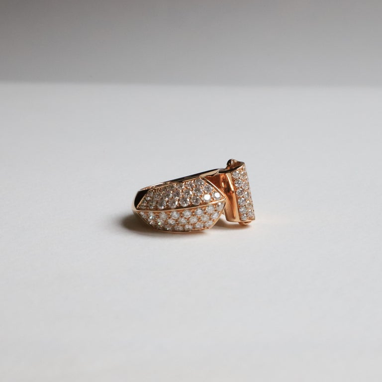 Ugolini 1.70 Karat White Diamonds 18 Karat Rose Gold Design Ring Cocktail Ring Thisring is entirely manufactured in an artisanal way, in Rome, Italy in 18 karats rose gold with 1,70 karats of white beautiful diamonds and every step of the process is