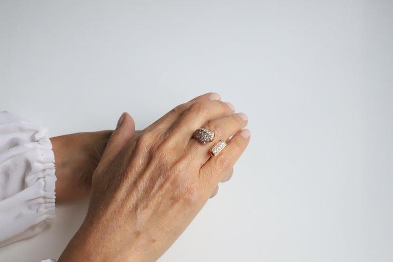 1.70 Karat White Diamonds 18 Karat Rose Gold Design Ring Cocktail Ring For Sale 2