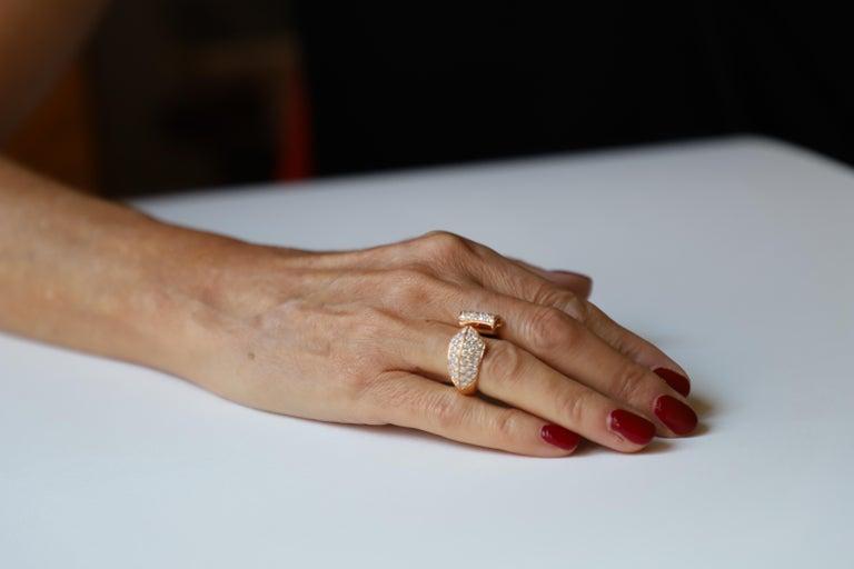 1.70 Karat White Diamonds 18 Karat Rose Gold Design Ring Cocktail Ring For Sale 3