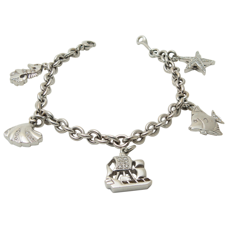 Diamonds Inset White Gold Maritime Themes Charms Bracelet