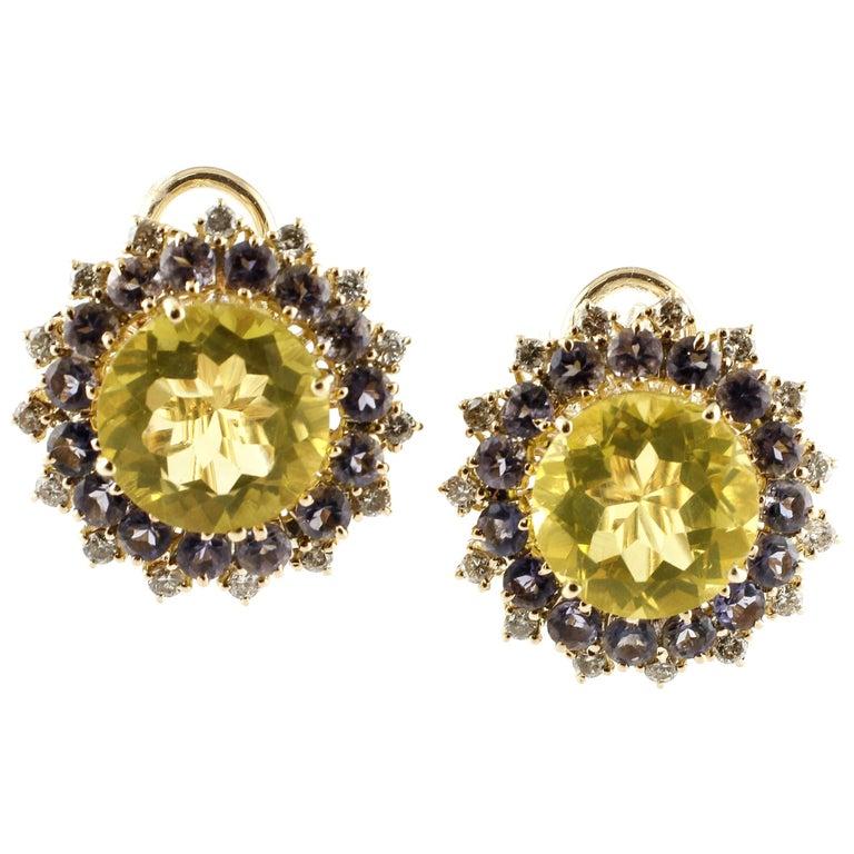 Diamonds, Iolite, Citrine 14 Karat Rose Gold Stud Earrings For Sale