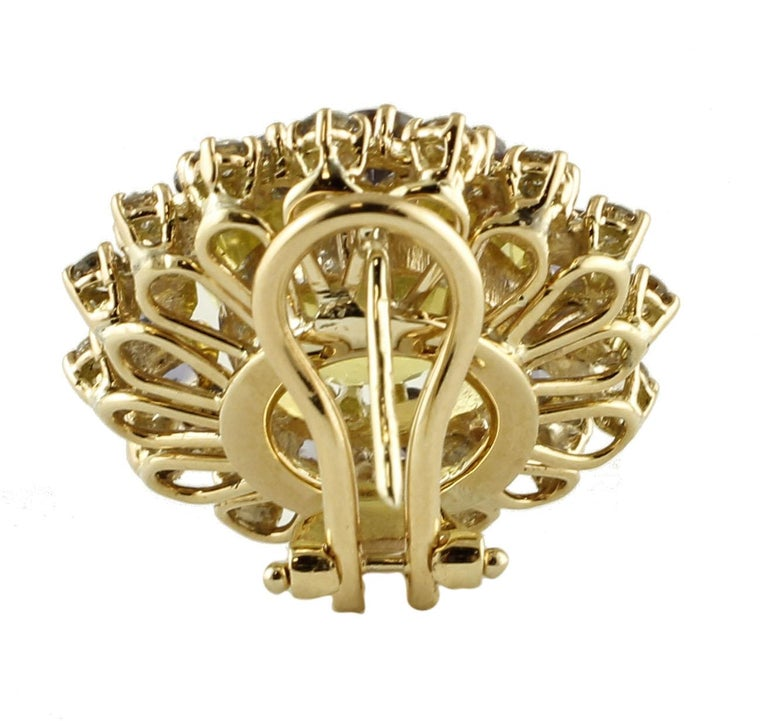 Retro Diamonds, Iolite, Citrine 14 Karat Rose Gold Stud Earrings For Sale