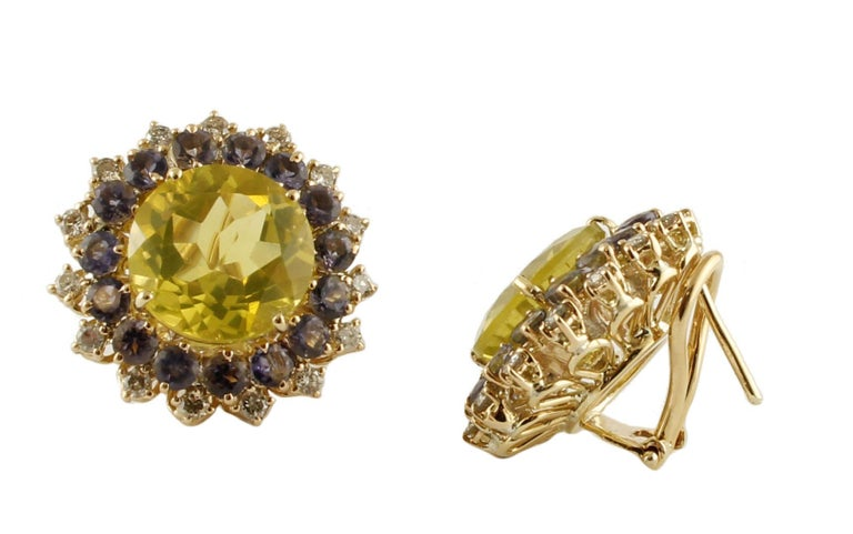 Diamonds, Iolite, Citrine 14 Karat Rose Gold Stud Earrings In Excellent Condition For Sale In Marcianise, Caserta