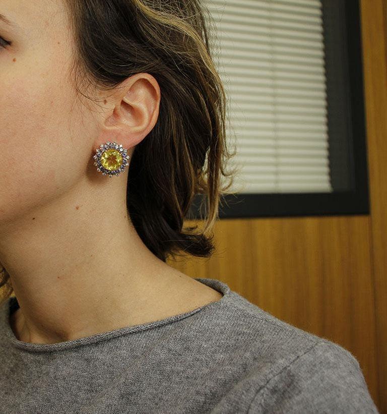 Women's Diamonds, Iolite, Citrine 14 Karat Rose Gold Stud Earrings For Sale