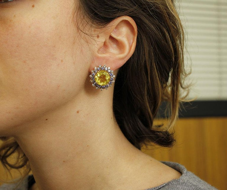 Diamonds, Iolite, Citrine 14 Karat Rose Gold Stud Earrings For Sale 1