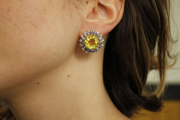 Diamonds, Iolite, Citrine 14 Karat Rose Gold Stud Earrings For Sale 2