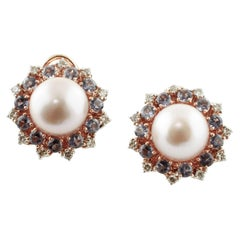 Diamonds, Iolite, Pearls, Silver and 9 Karat Rose Gold Earrings