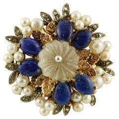 Diamonds, Lapis Lazuli, Rock Crystal, Pearls, 9 Karat Rose Gold and Silver Ring