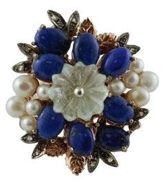 Diamonds, Lapis Lazuli, Rock Crystal, Pearls, 9 Karat Rose Gold and Silver Ring
