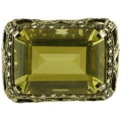 Diamonds Lemon Citrine Rose Gold and Silver Cocktail Ring
