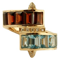 Diamonds, Light Blue Topazes, Garnets, 14 Karat Yellow Gold Vintage Ring