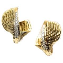 18 Karat Yellow Gold Diamonds Line- Statement Hoop Earrings, Small Mobius,