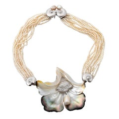 Diamonds Ming Dynasty Pearls Platinum Abalone Shell Necklace John Landrum Bryant