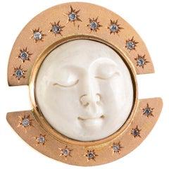 Diamonds Moon Stars 18 Karat Rose Gold Ring