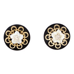 Diamonds, Mother-of-Pearl Flowers, Onyx, Rose Gold Stud Earrings