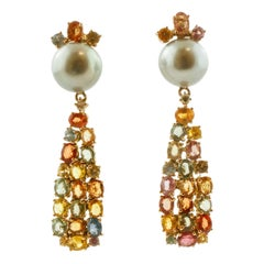 Diamonds, Multi-Color Sapphires, Grey Pearls, 14 Karat Rose Gold Drop Earrings