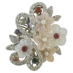 Diamonds Multi-Color Sapphires Little Pearls Mother of Pearl Gold Fashion Ring
