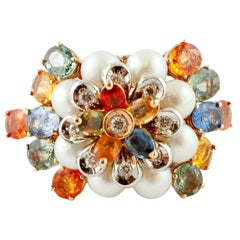 Diamonds, Multi-Color Sapphires, Little Pearls, Rose and White Gold, Flower Ring