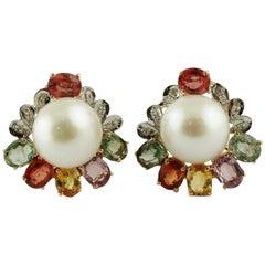 Diamonds Multi-Color Sapphires Pearls Rose Gold Earrings