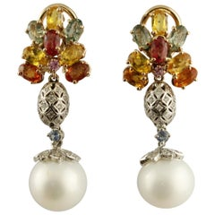 Diamonds Multi-Color Sapphires Pearls White and Rose Gold Earrings