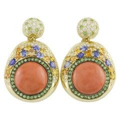 Diamonds Multi-Color Sapphires Tsavorites Coral 18 Karat Yellow Gold Earrings