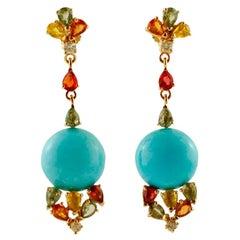 Diamonds, Multi-Color Sapphires, Turquoise, 14 Karat Rose Gold Drop Earrings
