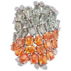 Diamonds Multi-Color Sapphires White Gold Ring