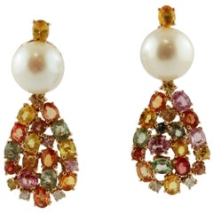 Diamonds, Multi-Color Sapphires, White Pearls 14 Karat Rose Gold Dangle Earrings
