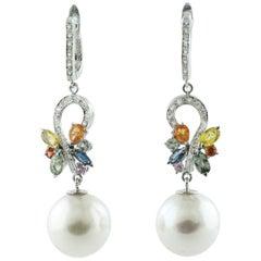Diamonds Multi-Color Sapphires White Pearls, White Gold Level-Back Drop Earrings