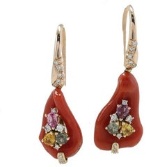 Diamonds, Multicolor Sapphires, Red Corals, Rose Gold Level Back Earrings