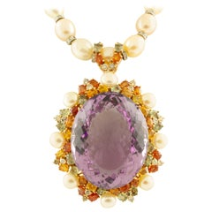 Diamonds Multicolored Sapphires Amethyst White, Light-Pink Pearls Necklace