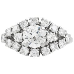 Diamonds On Platinum Marquise Setting Engagement Ring
