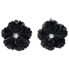 Diamonds, Onyx, 14 Karat White Gold Stud Earrings