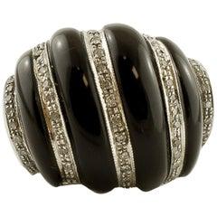 Diamonds, Onyx, 14 Karat White Gold Vintage Dome Ring