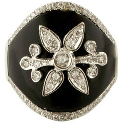 Diamonds, Onyx, 18 Karat White Gold Ring
