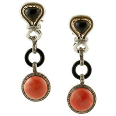 Diamonds, Onyx, Coral, 14 Karat Rose Gold and Silver Dangle Earrings