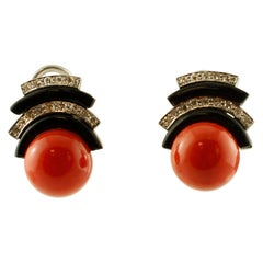 Diamonds, Onyx, Coral, 14 Karat White Gold, Vintage Stud Earrings