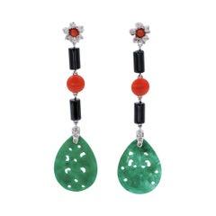 Diamonds, Onyx, Coral, Green Agate, 18 Karat White Gold Dangle Earrings