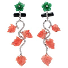 Diamonds, Onyx, Green Agate, Coral, 14 Karat White Gold Dangle Earrings