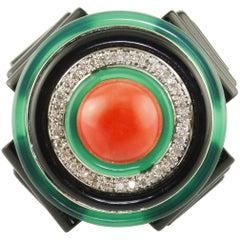 Diamonds Onyx Green Agate Coral White Gold Fashion Ring