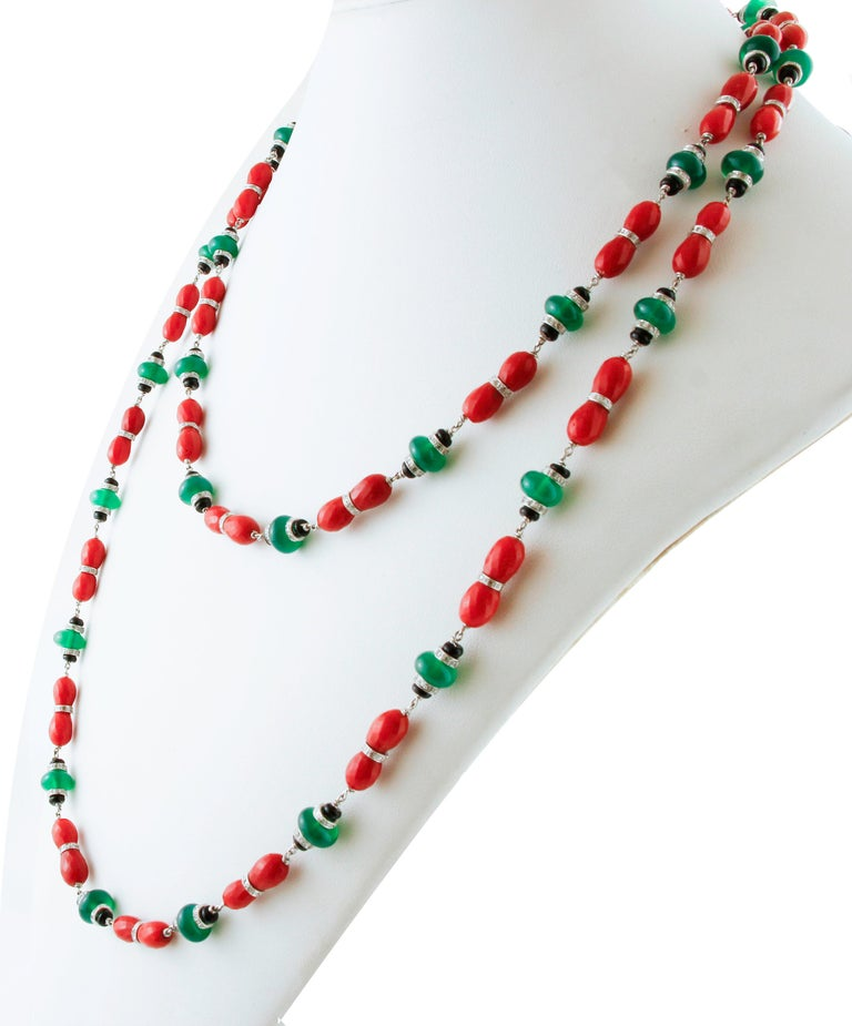 Retro Diamonds, Onyx, Green Agate, Red Coral, White Gold Link/Multi-Strand Necklace For Sale