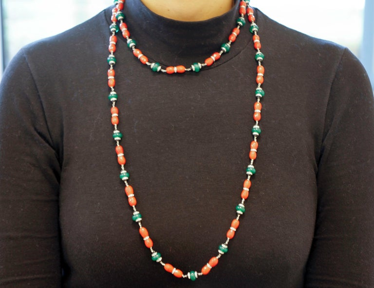 Women's Diamonds, Onyx, Green Agate, Red Coral, White Gold Link/Multi-Strand Necklace For Sale