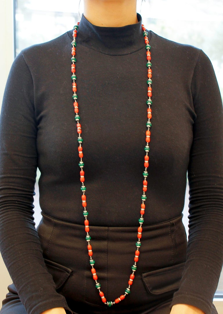 Diamonds, Onyx, Green Agate, Red Coral, White Gold Link/Multi-Strand Necklace For Sale 1