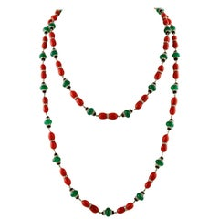 Diamonds, Onyx, Green Agate, Red Coral, White Gold Link/Multi-Strand Necklace