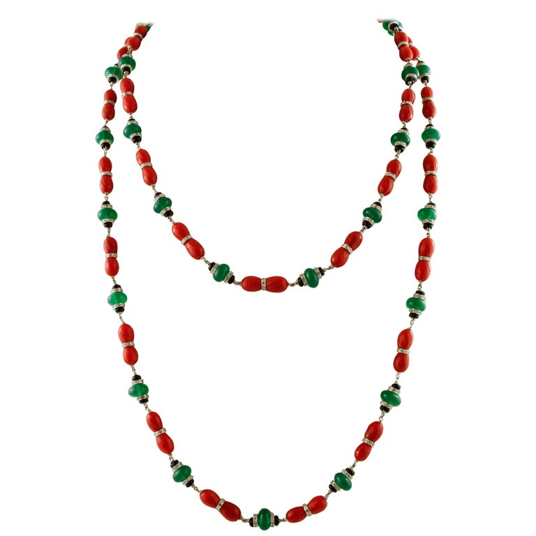 Diamonds, Onyx, Green Agate, Red Coral, White Gold Link/Multi-Strand Necklace For Sale