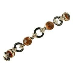 Diamonds, Onyx, Hard Stones, 9 Karat Rose Gold and Silver Retro Bracelet